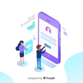 Concepto de registro online con vista isométrica