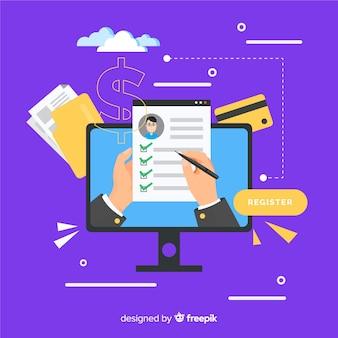 Concepto registro online