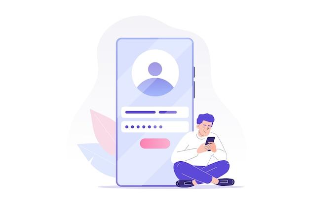 Concepto de registro y registro en línea con carácter de hombre