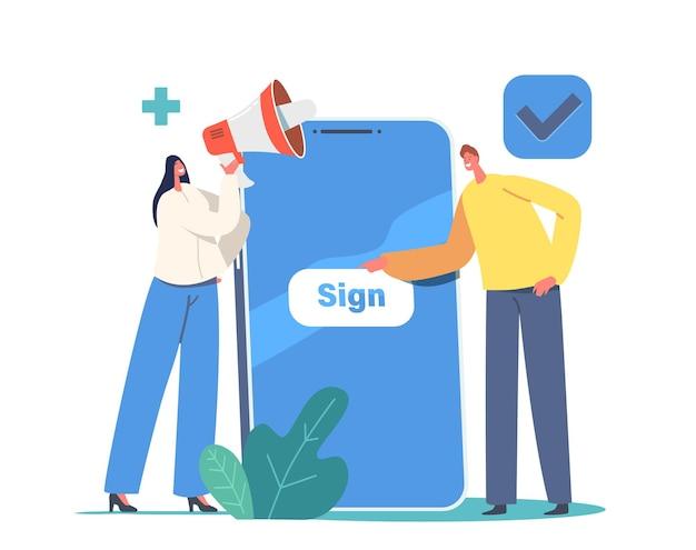 Concepto de registro y registro en línea de nuevo usuario. pequeños personajes que se registran en un enorme teléfono inteligente con contraseña segura e inicio de sesión para la cuenta. aplicación móvil, acceso web. ilustración de vector de gente de dibujos animados