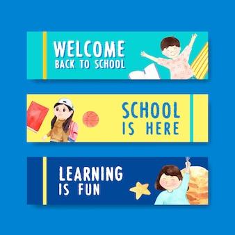 Concepto de regreso a la escuela y educación con plantilla de banner