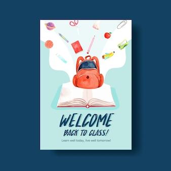 Concepto de regreso a la escuela y educación con plantilla de póster para folleto y acuarela publicitaria