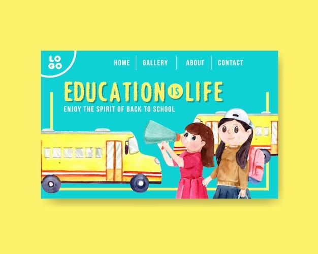 Concepto de regreso a la escuela y educación con plantilla de sitio web