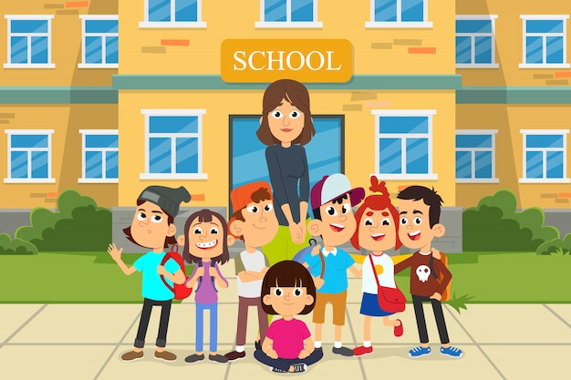 Concepto de regreso a la escuela con joven maestra sonriente y grupo de niños