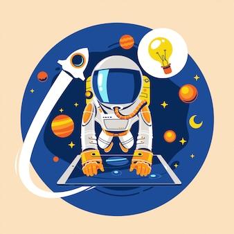 Concepto de regreso a la escuela. niño astronauta aprende el concepto de lección de astronomía en línea sobre la tierra y el espacio
