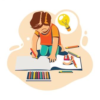 Concepto de regreso a la escuela. niño dibujando con lápices de colores
