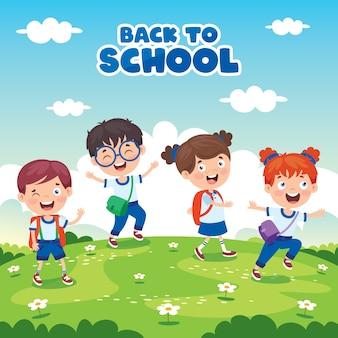 Concepto de regreso a la escuela con niños divertidos