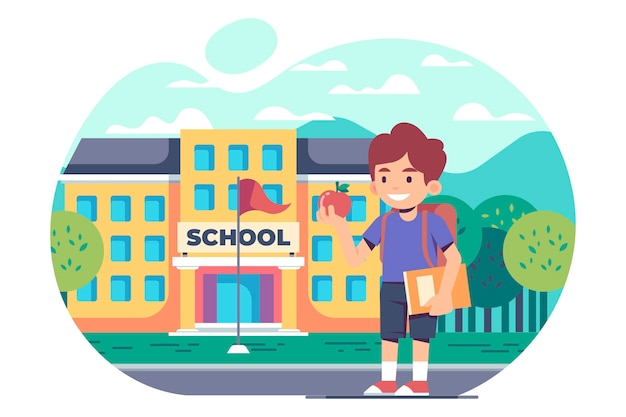 Concepto de regreso a la escuela de niños planos