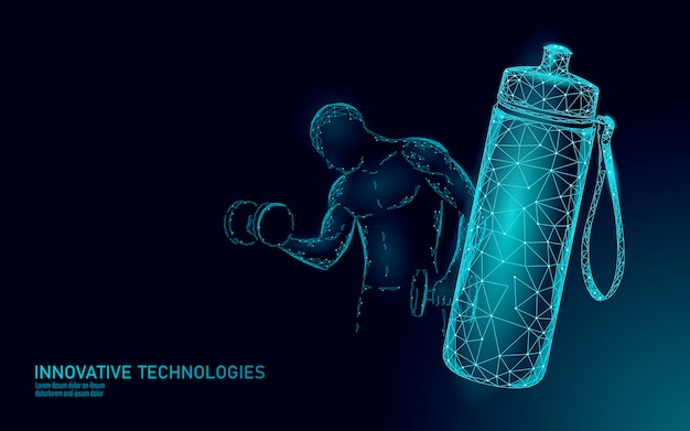 Concepto de rehidratación de atleta de botella de agua aqua. cuidado de la salud contra la deshidratación bebida de electrolitos isotónicos. ejercicio de gimnasio con mancuernas entrenamiento hombre fuerte fitness. ilustración.