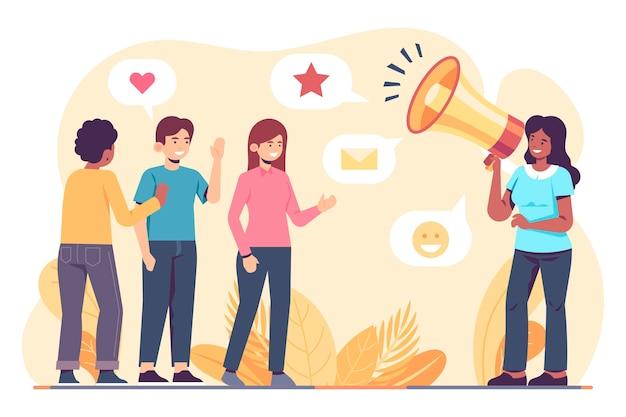 Concepto de relaciones públicas ilustrado