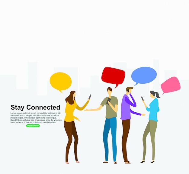 Concepto de relaciones virtuales de redes sociales. plantilla de fondo