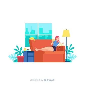 Concepto de relajación en casa para la página de inicio