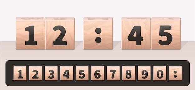 Concepto de reloj hecho de cubos de madera con un conjunto de números.