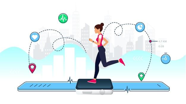 Concepto de reloj inteligente para fitness con mujer joven corriendo