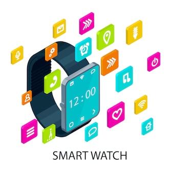 Concepto de reloj inteligente portátil isométrico