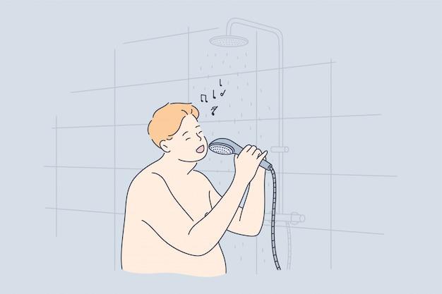 Concepto de rendimiento, diversión, canto, ducha, obesidad