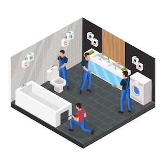 Concepto de renovación de baño isométrico con trabajadores profesionales que instalan el baño de la taza del inodoro y cuelgan el espejo