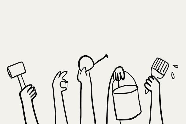Concepto de renovación del hogar de vector de doodle de bricolaje