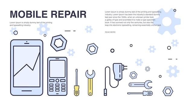 Concepto de reparación de teléfonos móviles. banner horizontal con smartphone y herramientas. servicio técnico electrónico.