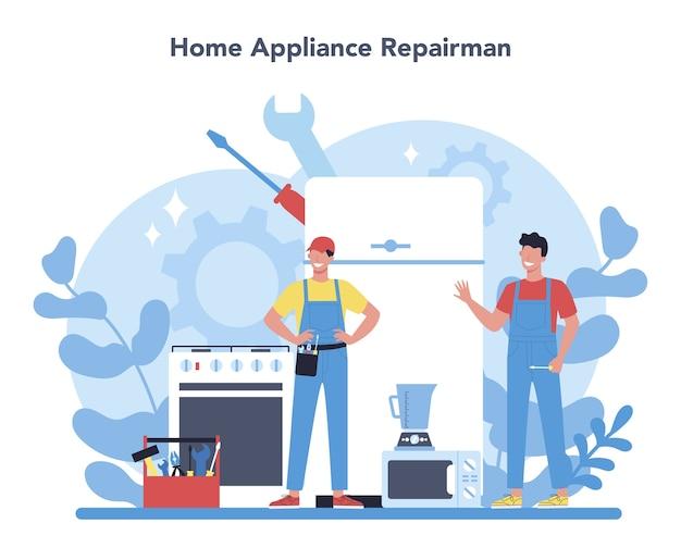 Concepto de reparador. trabajador profesional en el aparato electrodoméstico eléctrico de reparación uniforme con herramienta. ocupación de reparador. ilustración de vector aislado