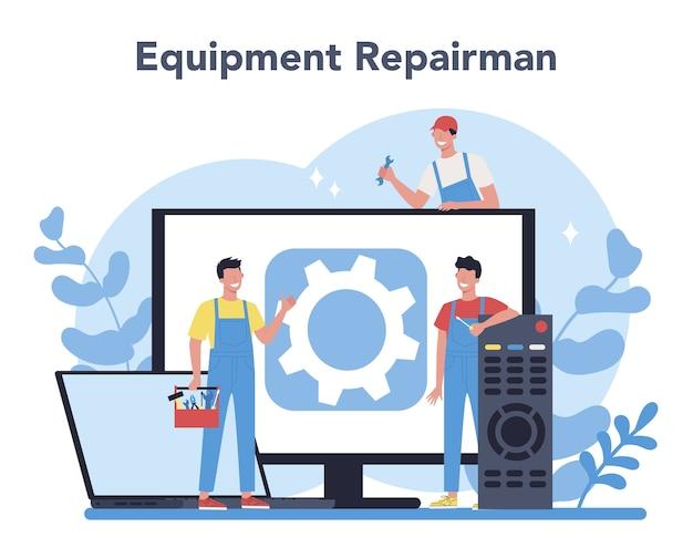 Concepto de reparador. trabajador profesional en el aparato electrodoméstico eléctrico de reparación uniforme con herramienta. ocupación de reparador.