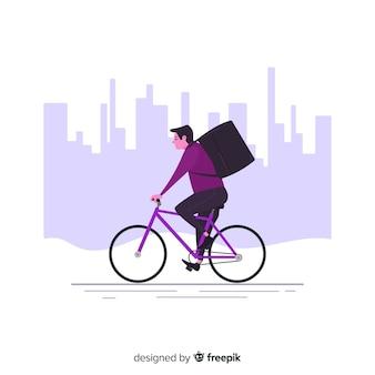 Concepto de reparte en bici en estilo flat