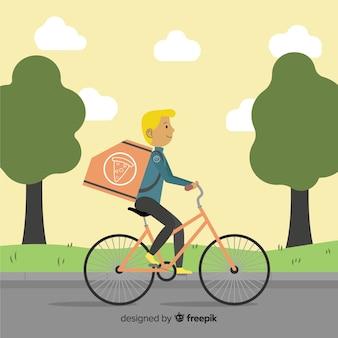 Concepto de reparto en bicicleta flat
