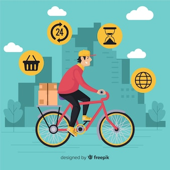 Concepto de reparto por bicicleta