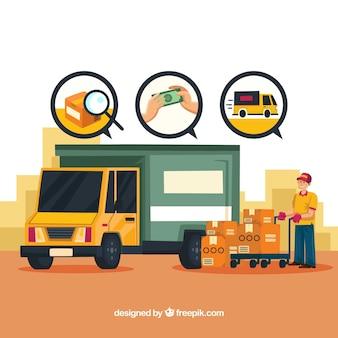 Concepto de reparto con camión y cajas