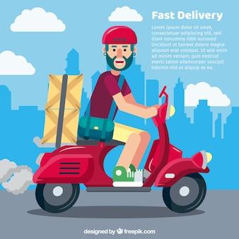 Concepto de reparto con repartidor en scooter