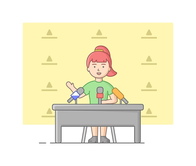 Concepto de reportaje y entrevista. mujer joven dando una entrevista en estudio. presentador de noticias hablando en micrófono antes de la cámara. interlocutor da entrevista. estilo plano de contorno lineal. ilustración de vector.