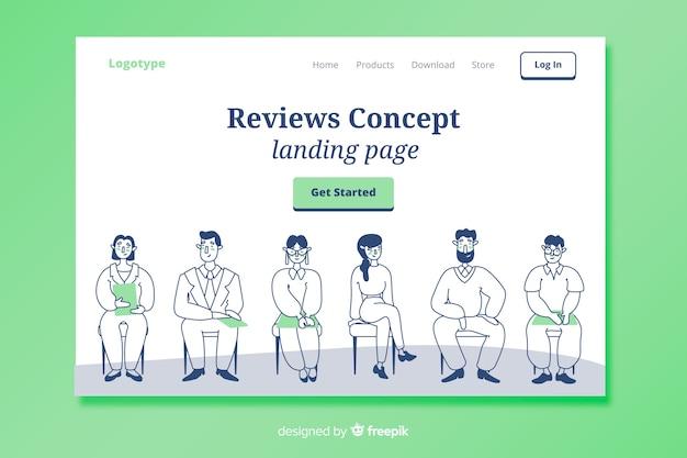 Concepto de reseñas para landing page