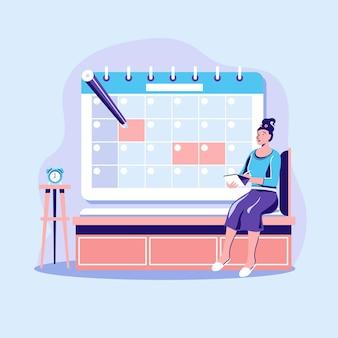 Concepto de reserva de cita con calendario