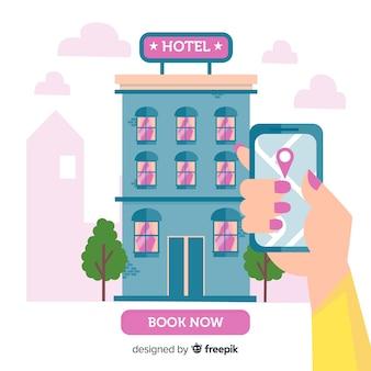 Concepto de reserva de hotel en estilo flat