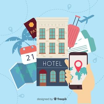Concepto reserva de hotel plana