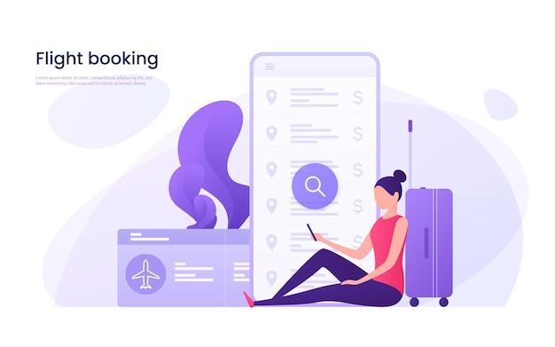 Concepto de reserva online de billetes de avión.