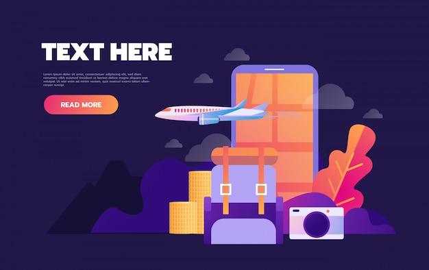 Concepto de reserva de vacaciones de vacaciones de verano en línea con iconos planos,