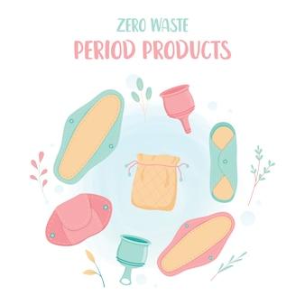 Concepto de residuo cero. producto ecológico para el período menstrual de la mujer. almohadillas de paños reutilizables, copa menstrual.