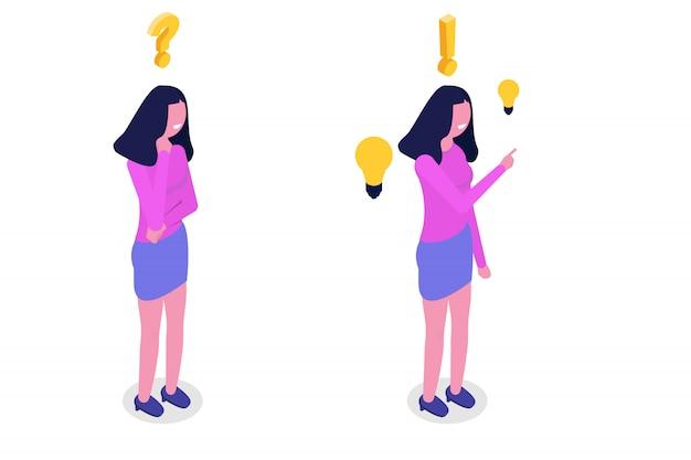 Concepto de resolución de problemas. mujer isométrica pensando con signo de interrogación y los iconos de la bombilla.