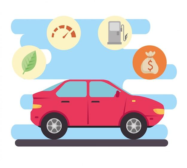 Concepto respetuoso con el medio ambiente, coche eléctrico, con iconos de beneficios de diseño de ilustración vectorial ecológica