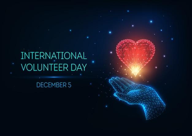 Concepto de resplandor futurista bajo poli día internacional del voluntariado