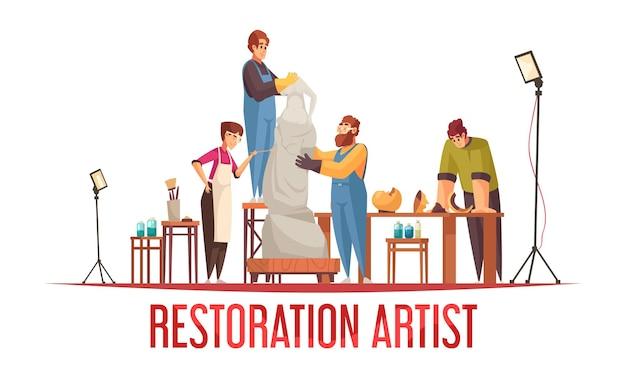 Concepto de restaurador de artista plano con grupo de personas que trabajan en la estatua antigua