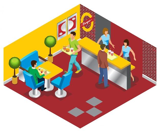 Concepto de restaurante de comida rápida isométrica con trabajadores personas comprando y comiendo hamburguesas refresco ensalada papas fritas