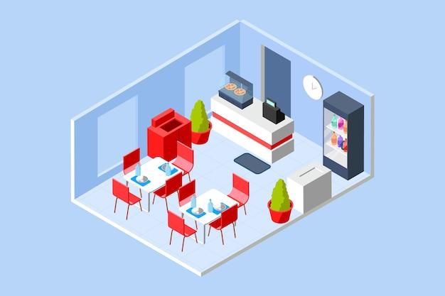 Concepto de restaurante isométrico