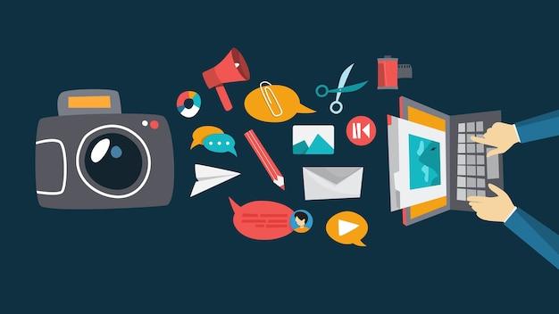 Concepto de retoque fotográfico. edición de fotografía en el monitor de la computadora. ilustración. ocupación creativa