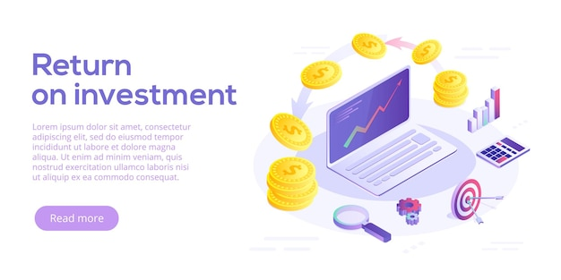 Concepto de retorno de la inversión en diseño isométrico. experiencia en marketing empresarial roi. banner de web de estrategia de ingresos financieros o ganancias.