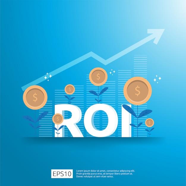 Concepto de retorno de la inversión. flechas de crecimiento empresarial para el éxito. texto de roi con planta de monedas de dólar. tabla de aumento de ganancias. financiamiento estiramiento levantándose.