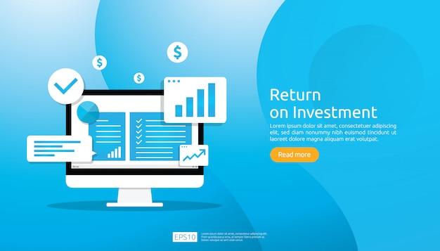 Concepto de retorno de la inversión roi. crecimiento empresarial flechas éxito. tabla de aumento de ganancias. financiamiento estiramiento levantándose.