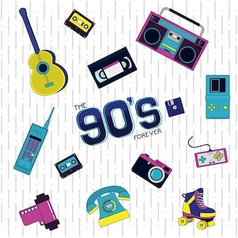 Concepto retro de los 90