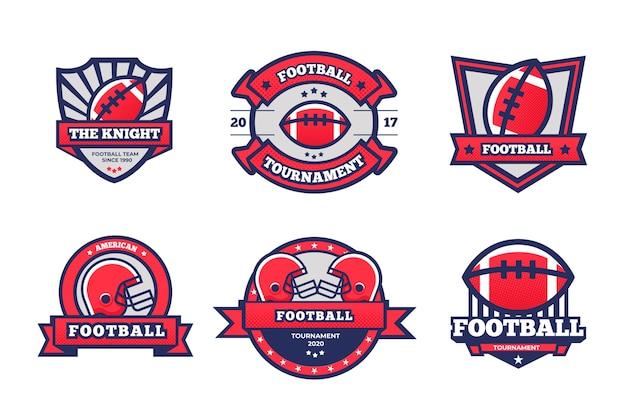 Concepto retro de insignias de fútbol americano